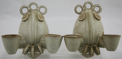 Contemporary Modern Studio Pottery Stylized Owl Candle Sconces