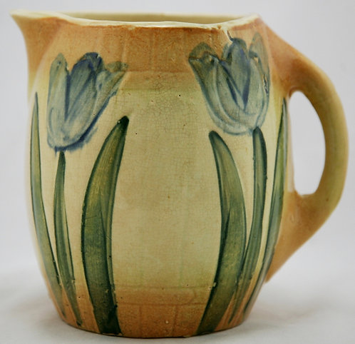 """Roseville 'Tulips' 7.25"""" Early Pitcher Pre-1916 Early Pitcher Line In Amber/Blue"""