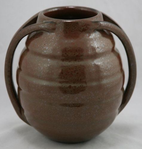 Marvin Bailey Southern Art Pottery Hand-turned Twin Handle Vase in Brown Spatter