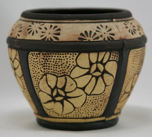 Weller Claywood Cabinet Vase With Sweet Blossoms In Brown/Beige Bisque Gla