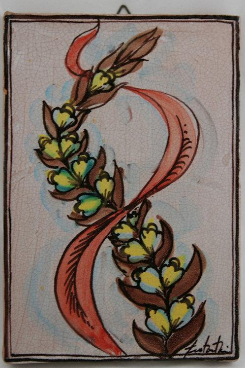 """Italian Faience Slab Tile Fratantoni Ceramic Works 11.5"""" Tile 'Blossom Stalk'"""