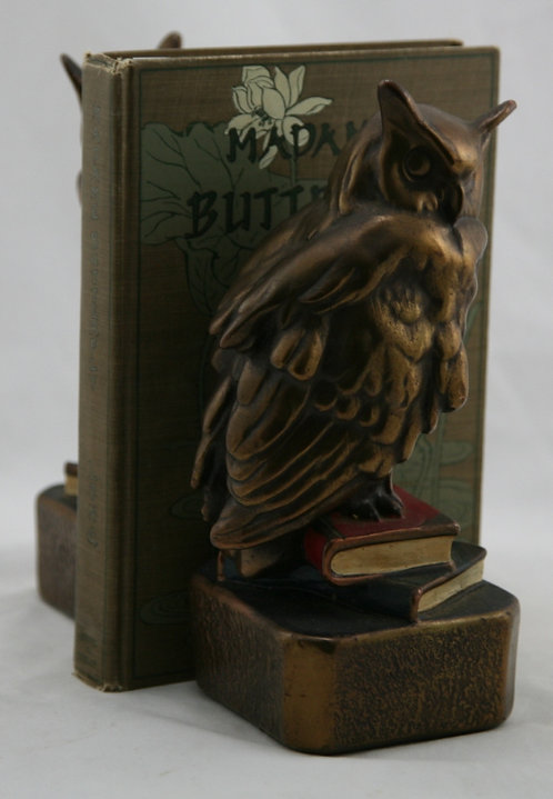 Marion Bronze 'Owls on Books' Polychrome Bookends c1930s