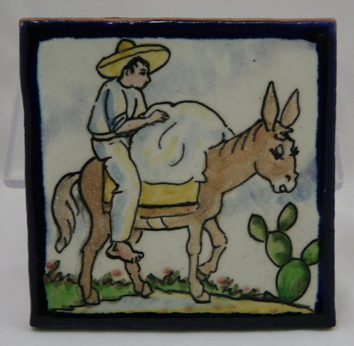 Early California/Mexico Tile Man with a Bundle on a Burro