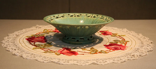 Fulper Reticulated Pedestaled Center Bowl in Green Crystalline/Teal Glazes F696