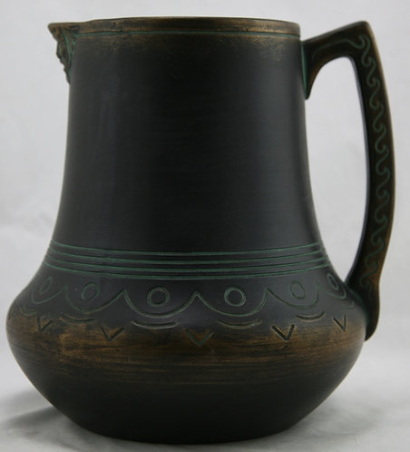 Norse Pottery Pitcher In Brushed Black/Bronze/Green Patina #53 Original Cond.