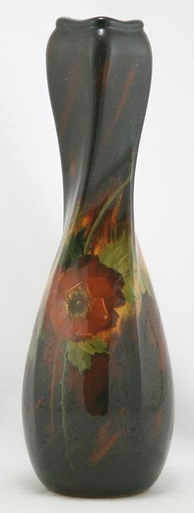 "Weller Aurelian Standard Glaze 12.5"" Twist Vase With Wild Rose Blossom/Leaves"