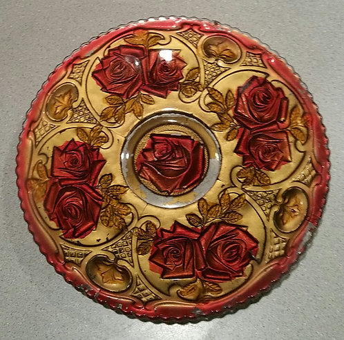 Goofus Glass Plate With Red Roses Over Gold