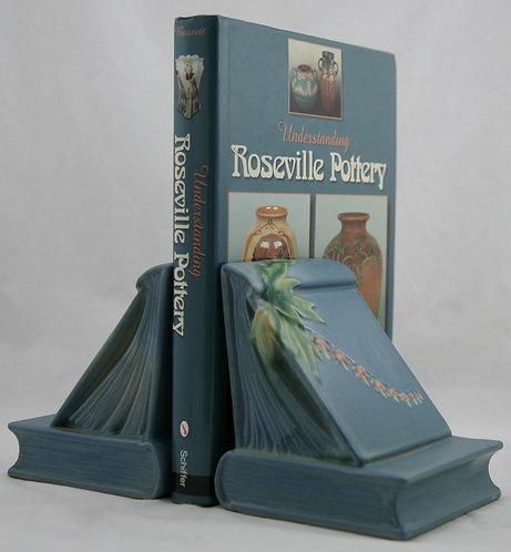 """Roseville Bleeding Heart 5.75"""" Set Of Bookends In Blushed Blue Glazes #6"""