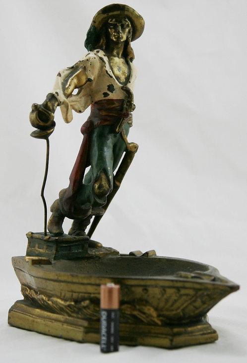 Armor Bronze 'Captain Kidd' Polychrome Ashtray c1926