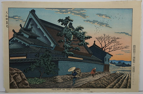 Takeji Asano (Fujishima) (1900-1999) 'Twilight in the Village, Nara'