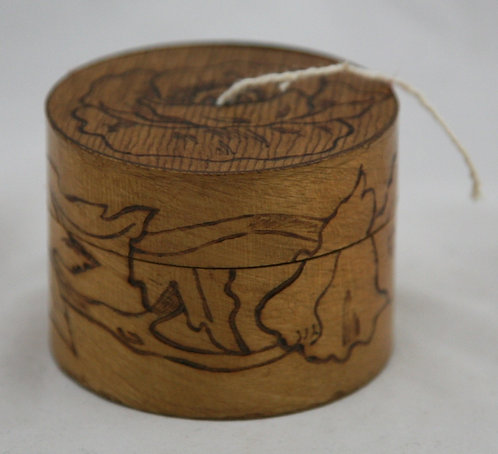 Flemish Art Co. NY Pyrography Wooden Round String Box with Rose Motif