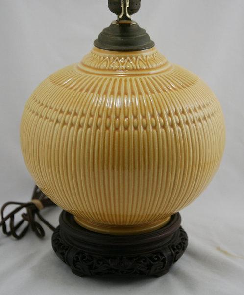 "Roseville Savona 23"" (8.5"") Ball Lamp In Bright Yellow Glaze on Teak Base"