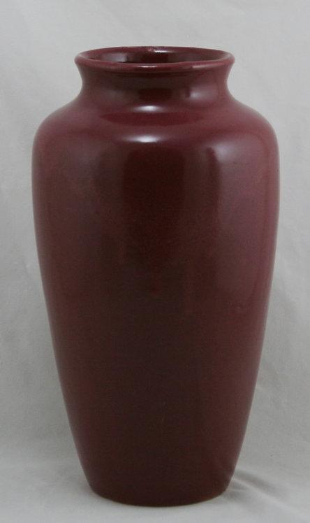 """Zanesville Stoneware 12"""" Arts & Crafts Vase In Mulberry Glaze"""