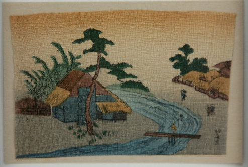 After Katsushika Hokusai (1760-1849) Shinano Province Canal Miniature Crepe