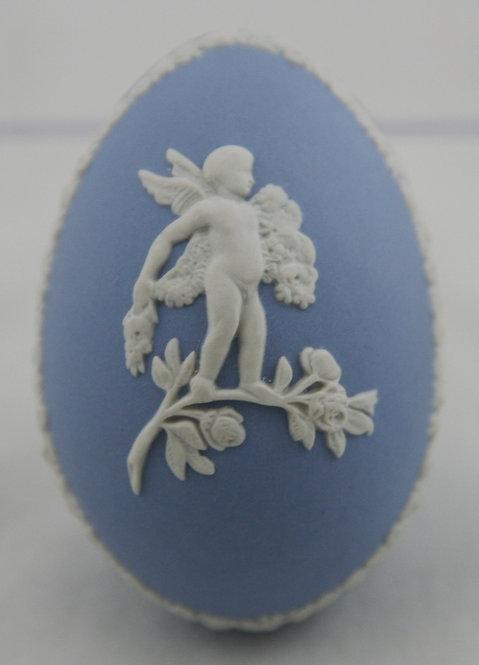 Wedgwood 'Cupid' Egg Trinket Box in Wedgwood Blue Cameo Jasperware