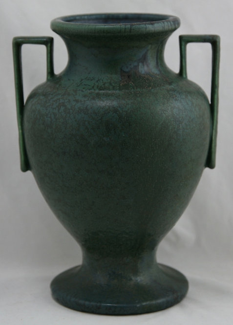 "Hampshire 11"" Arts & Crafts Vase In Killer Matte Green W/Boxy Handles"