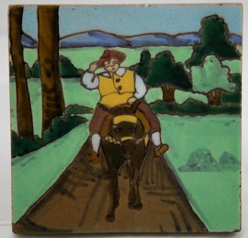 Manuel Ramos Rejano Sevilla Tile c1890-1900 Sancho Panza of Don Quixote Series