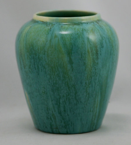 Devonmoor England Vase in Green Striated Glazes c1940s