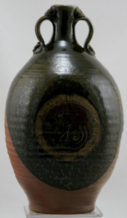 "Walt Schmidt Asian-Inspired 11.5"" Stoneware Bottle Vase Indiana Potter Mint C693"