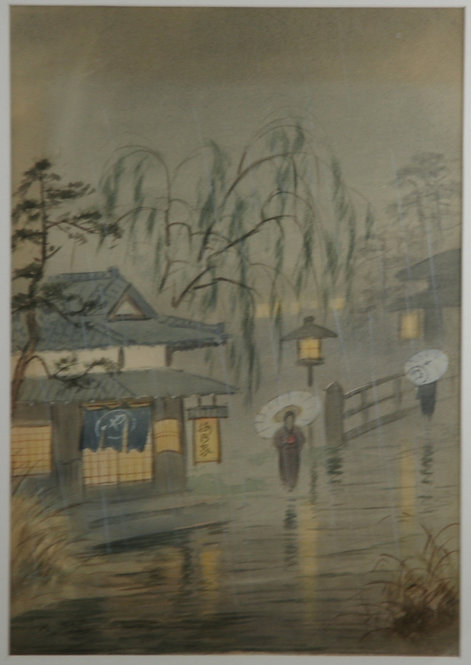 Fukutaro Terauchi (1891-1964) 'Rainy Night Under a Willow Tree'