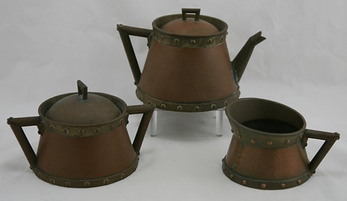 Vintage Arts & Crafts Hammered Copper & Brass Coffee Set