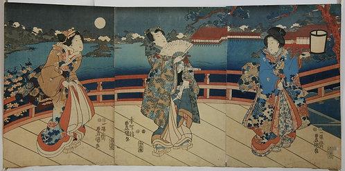 Utagawa Kunisada/Toyokuni III (1786-1865)  Crossing a Bridge in a Moonlit Garden