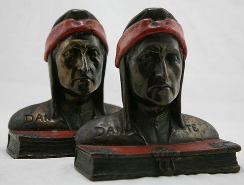 Pompeian Bronze 'Dante Alighieri' Bust Polychrome Bookends c1920s