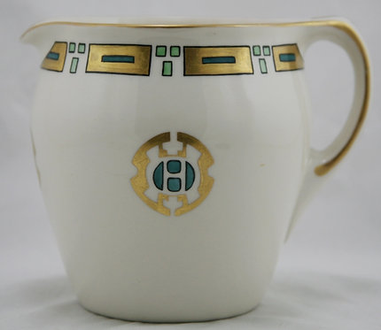 American Lenox Belleek Pitcher in China-painted Stylized Decoration c1889-1906