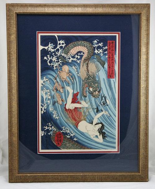 Utagawa Kuniyoshi (1797-1861) 'Tamatori' Pearl Diver Escaping the Dragon King