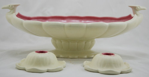 Cowan Pottery Pteradactyl Center Bowl with Weller Candlesticks