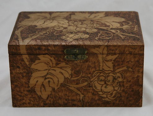 Flemish Art Co. NY Pyrography Wooden Box with Grape/Leaf Motif c1900