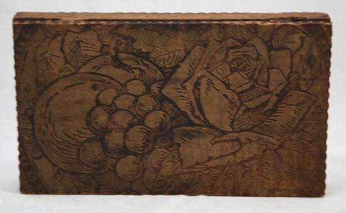 Flemish Art Co. NY Pyrography Wooden Box with Rose/Grape/Fruit Motif c1900