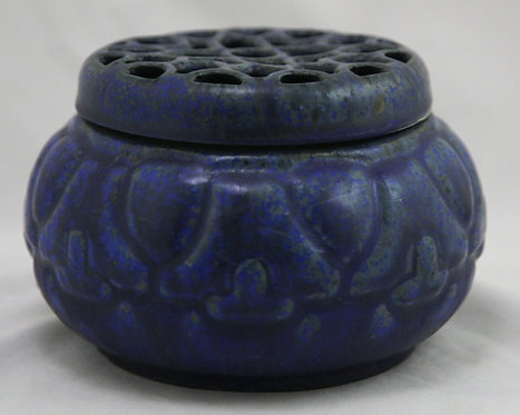 Fulper Potpourri Lattice-Lidded Jar in Organic Cobalt/Violet/Charcoal Glazes