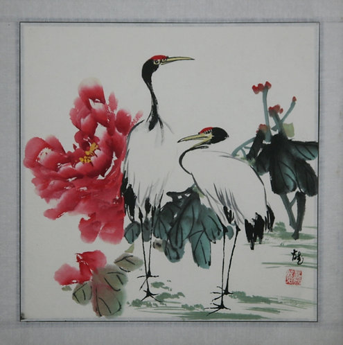 (Unread Artist) 'Red-Headed Cranes with Water Blossoms and Leaves'