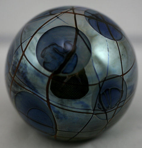 Abelman Glass Paperweight With Mirrored & Cratered Orbs & Vines d1980
