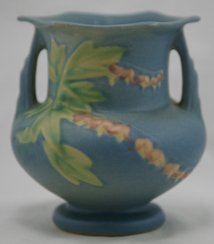 """Roseville Bleeding Heart 4.25"""" Vase In Blushed Blue Glazes 138-4"""