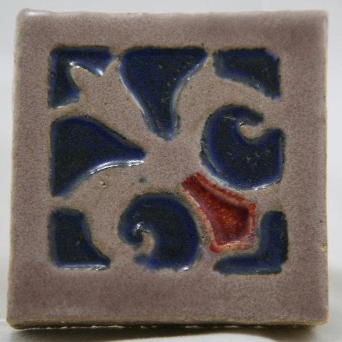 """Flint Faience Tile Works 3.5"""" Tile with Fleur de Lis Embossed Design c1921-33"""