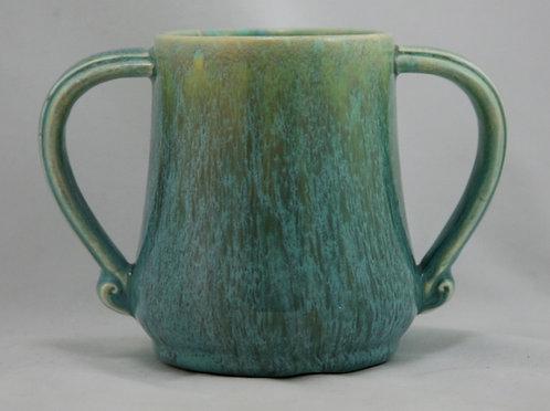 Devonmoor England Loving Cup in Green Striated Glazes c1940s