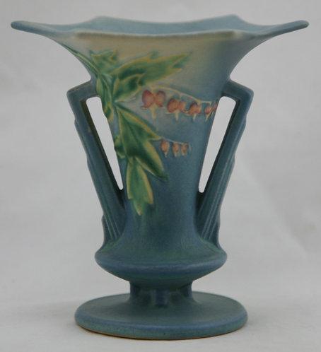 """Roseville Bleeding Heart 5.25"""" Vase In Blushed Blue Glazes 962-5"""