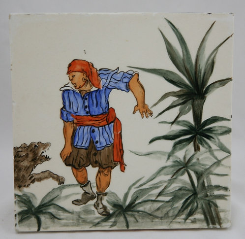 Minton-Hollins English Art Tile Hand-Painted 'Asian Man & Wild Boar' Scene c1890