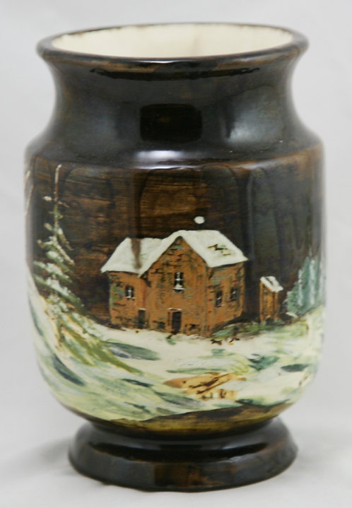Faience Manufacturing Co. FMC Earthenware Scenic Cabin/Homestead Vase Signed