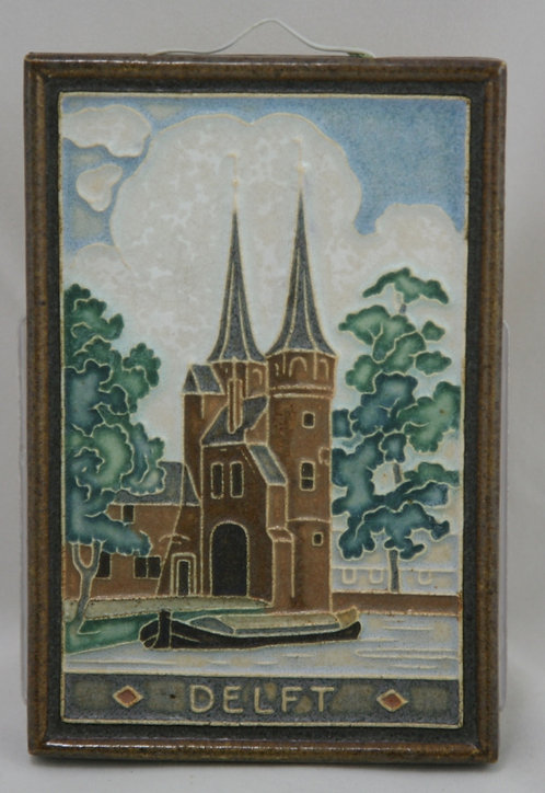 Holland de Porceleyne Fles 'The Eastern Gate, Oostpoort' Delft Cloisonne Tile