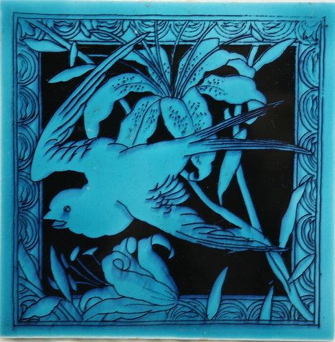 "Minton Hollins Co. 6"" Tile c1875 'Bird w/Lily' Designed By John Windsor Bradburn"