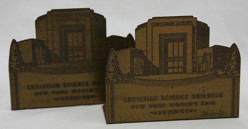 'Christian Science Building' Etched Brass Bookends c1939 New York World's Fair