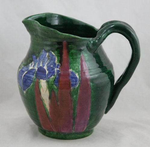 Awaji Pottery Pitcher with Iris Blossoms in Vivid Colors c1880-1939