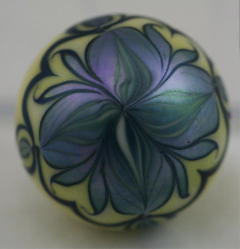 Orient & Flume Blossom & Pulled Feather Glass Paperweight d1975 Iridescent Mint