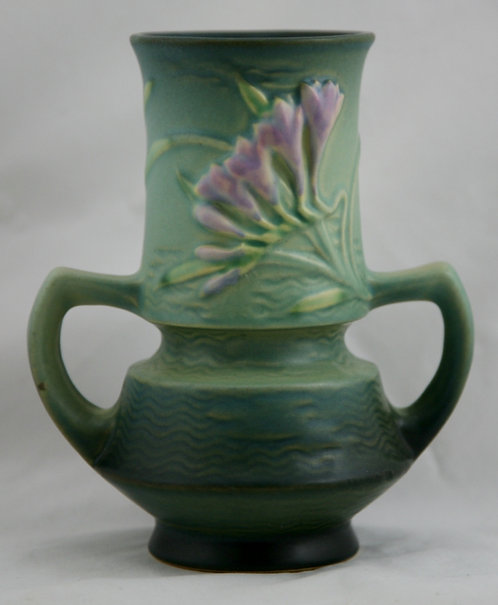 "Roseville Freesia 6.25"" Vase In Tropical Green Glaze Mold & Color 118-6 Mint"