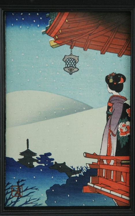 Takeji Asano (1900-1999) 'Maiko Viewing Asakusa in Snow'