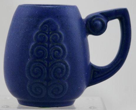 """Fulper 4"""" Leaf Mug In Matte Blue Glaze c1909-1917 F638"""