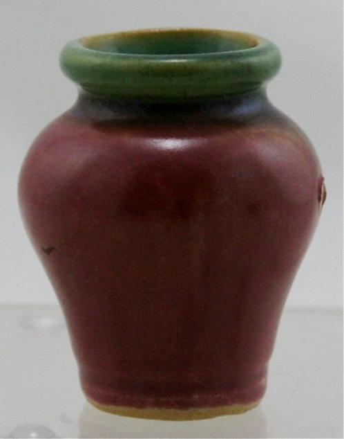 "Fulper RAFCO Miniature 2.25"" Vase In Green Over Rose Glaze Kiln Kiss F194"